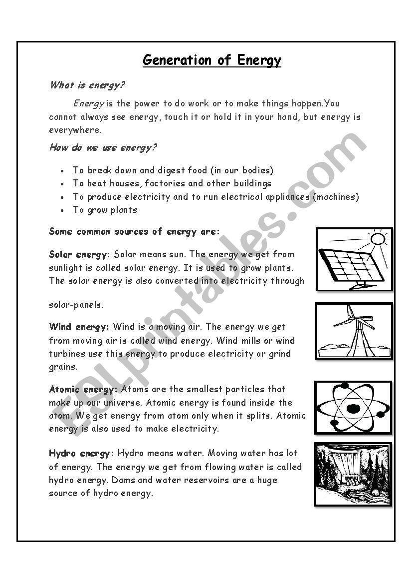 Work Power Energy Worksheet Generation Of Energy Esl Worksheet By Yousraasr In 2020 Kids Worksheets Printables Power Energy Cursive Writing Worksheets