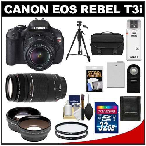 awesome Canon EOS Rebel T3i Digital SLR Camera Body & EF-S 18-55mm IS II Lens with 75-300mm III Lens + 32GB Card + .45x Wide Angle & 2x Telephoto Lenses + Battery + Remote + (2) Filters + Tripod + Accessory Kit
