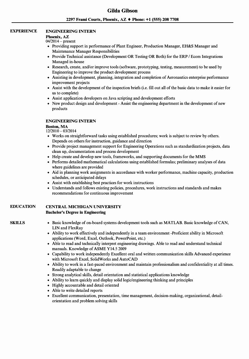 Engineering Student Resume Examples Elegant Engineering