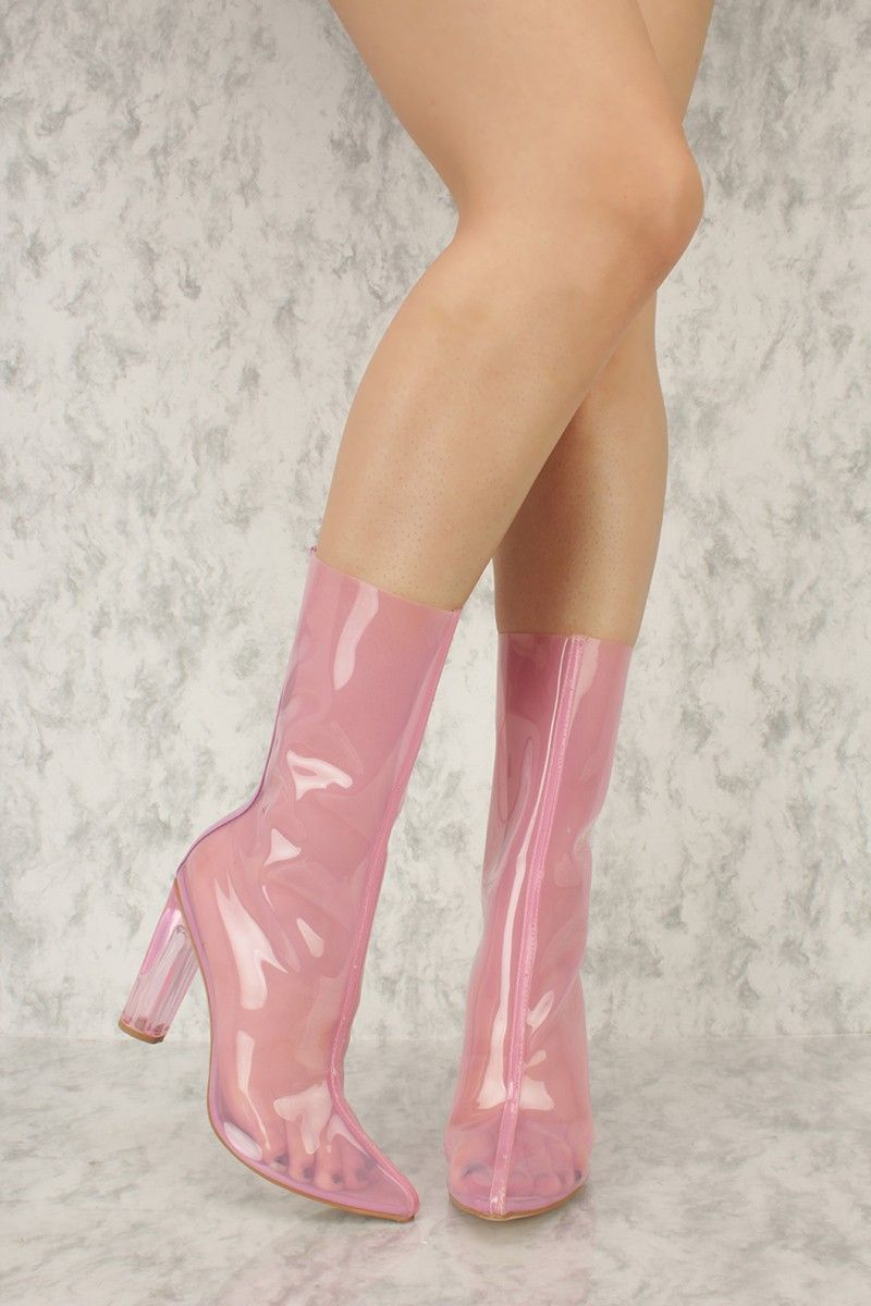 a77b23397b28 Pink Jelly Pointy Toe Round Colored High Heel Ami ClubWear Boots in ...