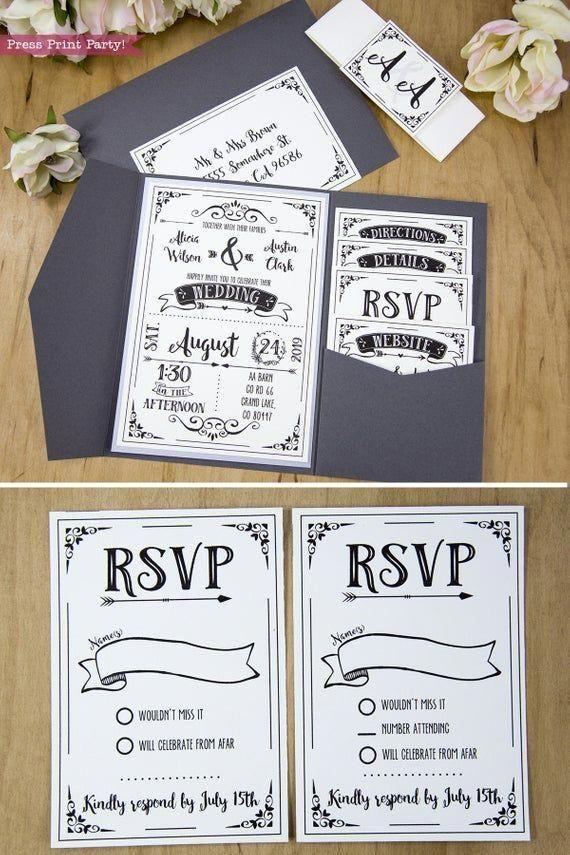 Wedding Invitation Template Printable Set Wedding Invitation | Etsy