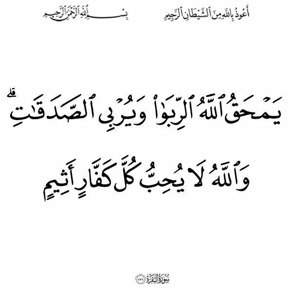 ٢٧٦ البقرة Arabic Quran Calligraphy