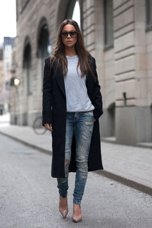justthedesign:  Johanna Olsson is wearing ripped blue jeans from Noisy May, nude shoes from Christian Loboutin and the black coat is from LXLS  http://afashionlines.tumblr.com/