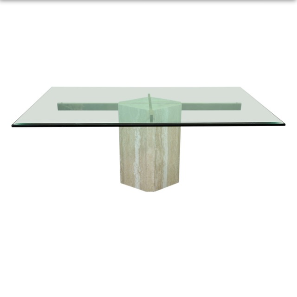 Chrome And Marble Base Gl Dining Table