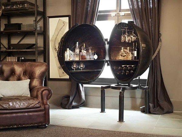 stilvolle Minibar aus Metall Wohnzimmer | Lounge room new ...