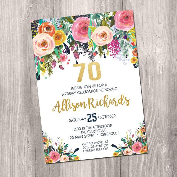 70th birthday invitation for women female adult surprise invite navy 70th birthday invitation for women female adult surprise invite navy blue floral flowers watercolor digital gold filmwisefo Images