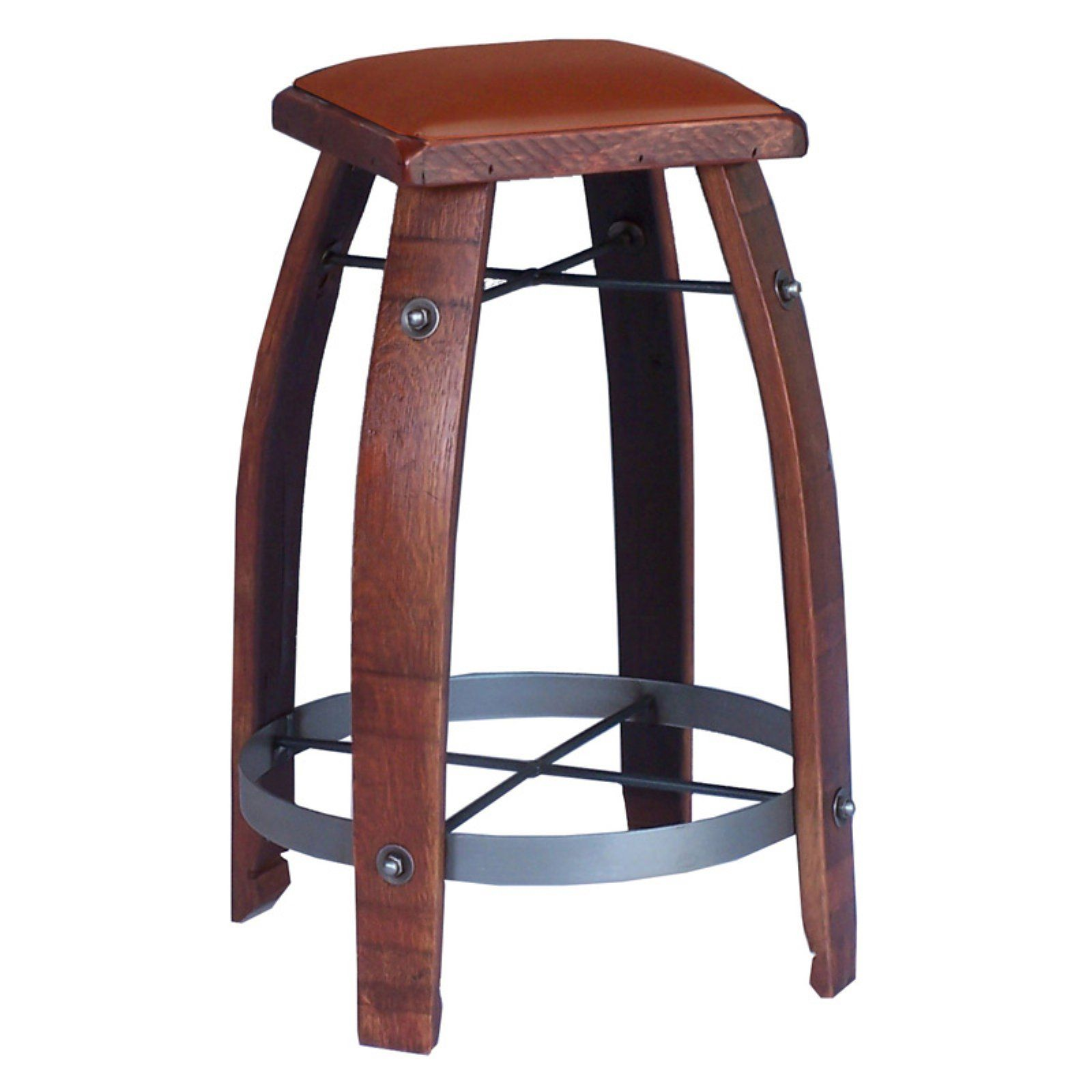 2 Day Designs Reclaimed 26 In Stave Wine Barrel Counter Stool Upholstered Seat Tan Wine Barrel Bar Wine Barrel Bar Stools Barrel Bar