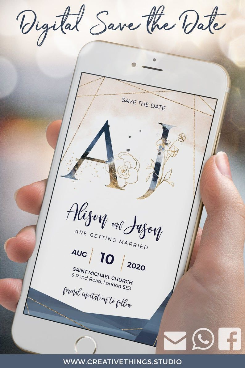 Blush Navy Gold Digital Save The Date With Photo Featuring Elegant Watercolour Flowers And Monogram It S A Unique Wedding Invitation Undangan Berkilau Iman