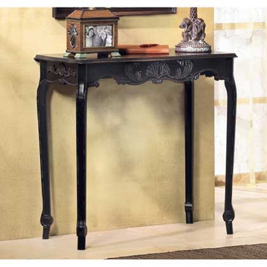 French scallop detail distressed black hall side console table french scallop detail distressed black hall side console table wood35177 geotapseo Images