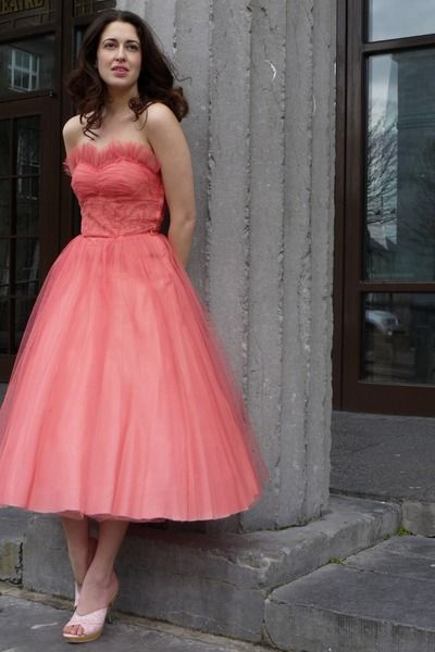 betsey johnson prom dresses | salmon lace and tule vintage dress ...