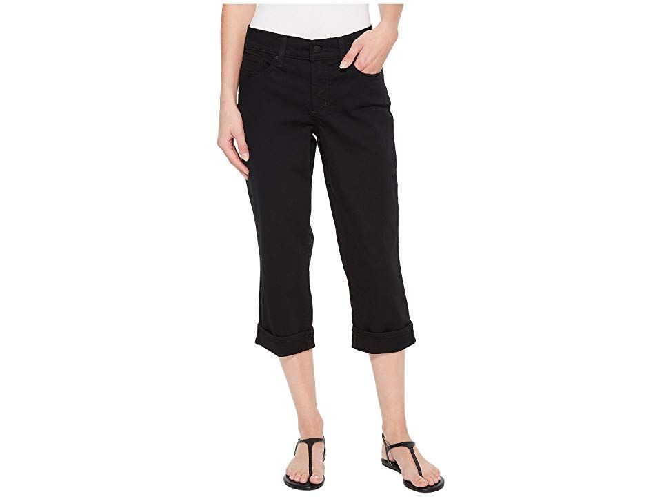 NYDJ Marilyn Crop w Cuff in Black Black Womens Jeans Put your best body forward in NYDJ jeans Denim crop has a high rise straight leg and cuffed hem Lift Tuck Technology...