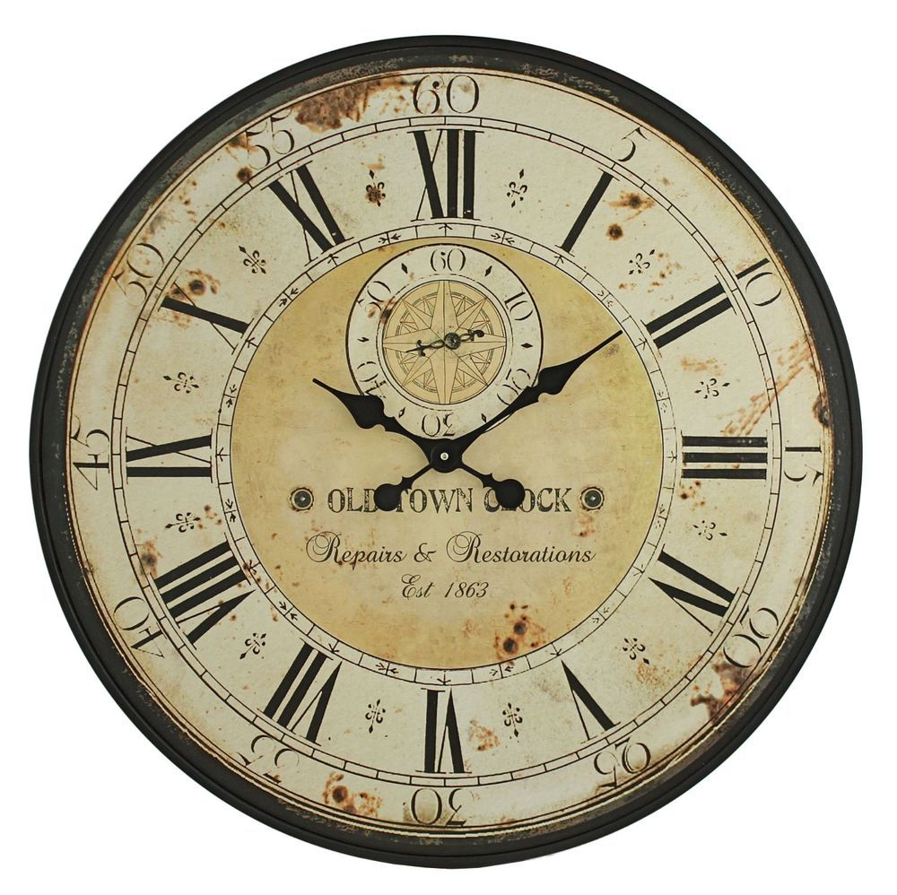 Wall Clock Decorative Weathered Distressed Large 31.5\
