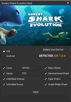 Hungry Shark Evolution Hack Unlimited Tool Hacks Cheating Working Games