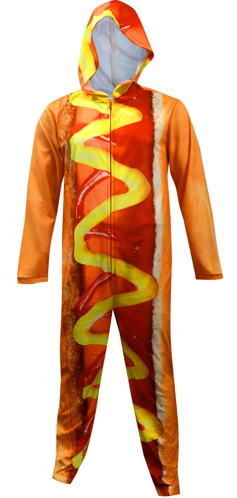 24440f5da WebUndies.com Unisex Hot Dog Hooded Onesie Pajama