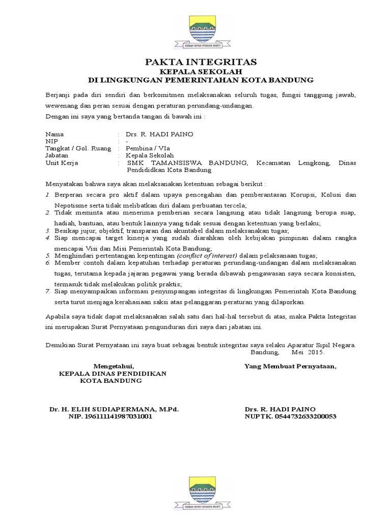 Image Result For Contoh Pakta Integritas Kepala Sekolah