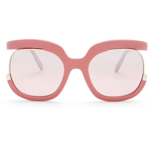 54edea3d36d Salvatore Ferragamo Women s Plastic Semi-Rimless Sunglasses (£57) ❤ liked  on Polyvore featuring accessories