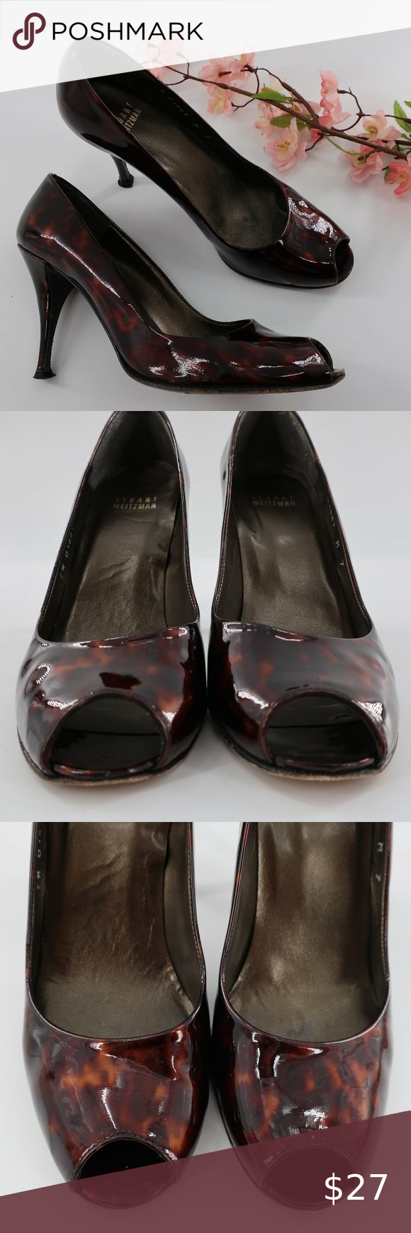 Stuart Weitzman Tortoiseshell Patent Pumps 7 M These are in excellent preowned condition with minimal wear to the heels.  Please see all pictures as they are the best descriptors  Size: 7 Medium Color: Bronze Material: Leather Style: Pumps  Designer/Label: Stuart Weitzman Heel Measures: 3-3/4