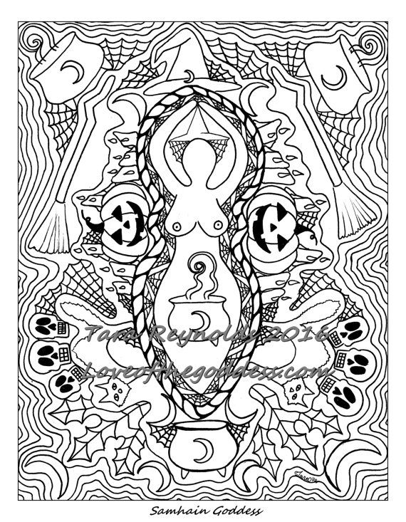 Coloring Page for Adults Samhain Halloween Goddess Coloring Page ...