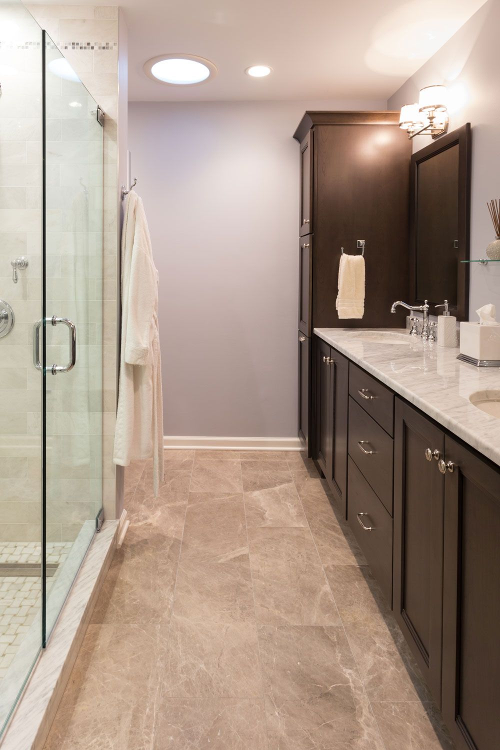 Bathroom remodel in chatham new jersey designed by kraftmaster