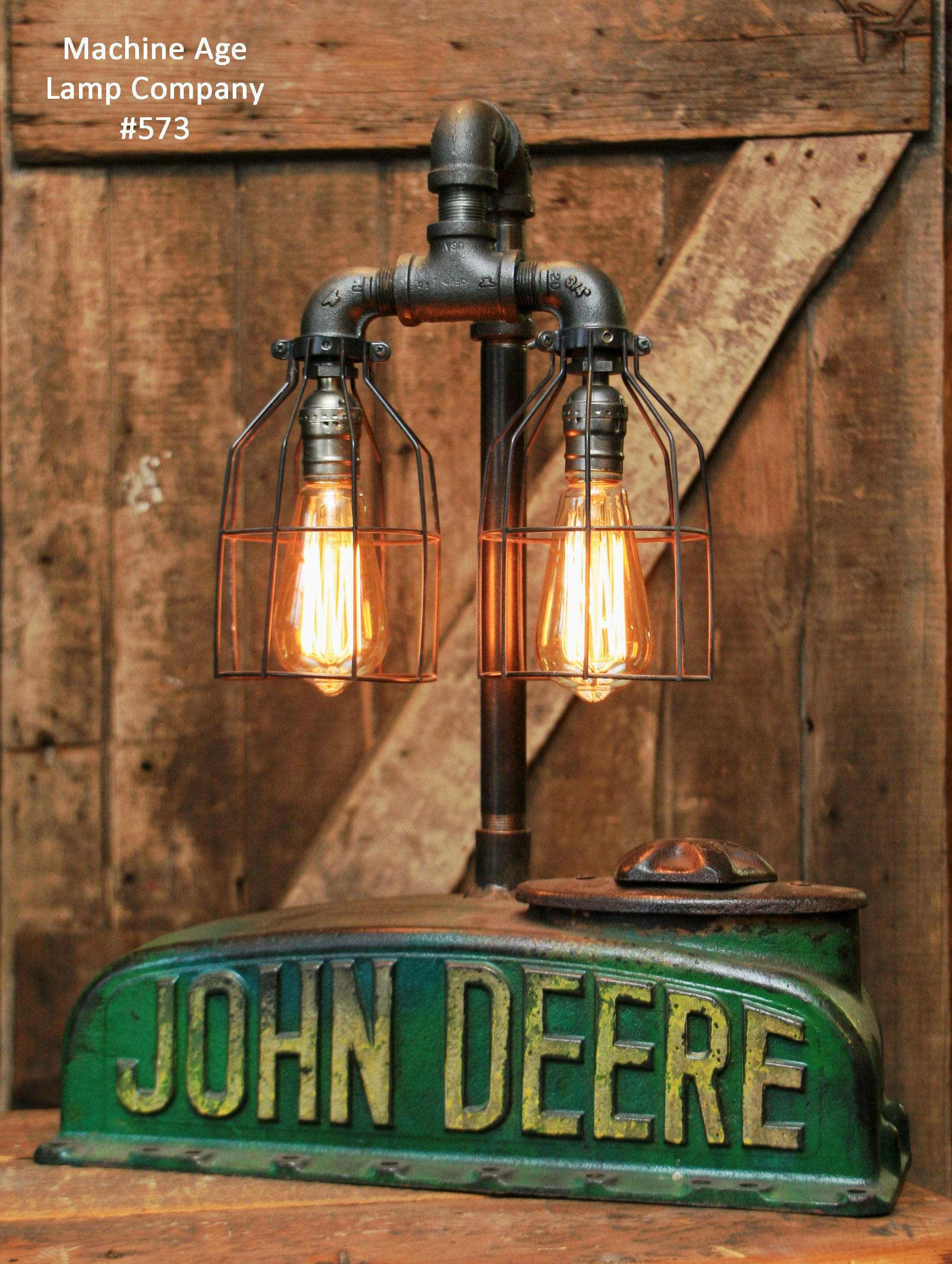 Steampunk industrial lamp antique john deere a farm tractor john deere desk or table lamp vintage radiator from a model a 1930s made by the machine age lamp company steampunk industrial aloadofball Images