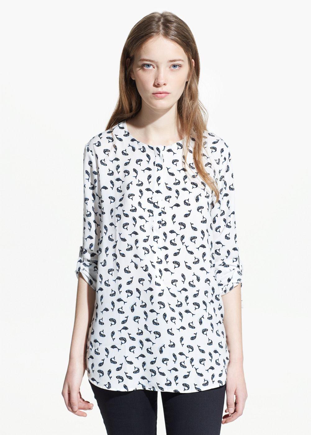 96fd671de0ebd Fish print blouse - Women in 2019