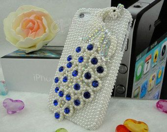 Iphone 4 Case - IPhone 4S Case - Luxury Handmade 3D Blue Crystal Peacock White Bling Pearl Case Cover Skin For iphone 4 4G 4S Accessories