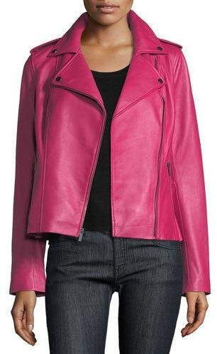 774d0b09369 Neiman Marcus Leather Collection Zip-Front Leather Moto Jacket in ...