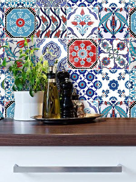 Turkish Patchwork Mix Wallpaper Removable Vinyl Wallpaper - Peel & Stick - No Glue, No Mess