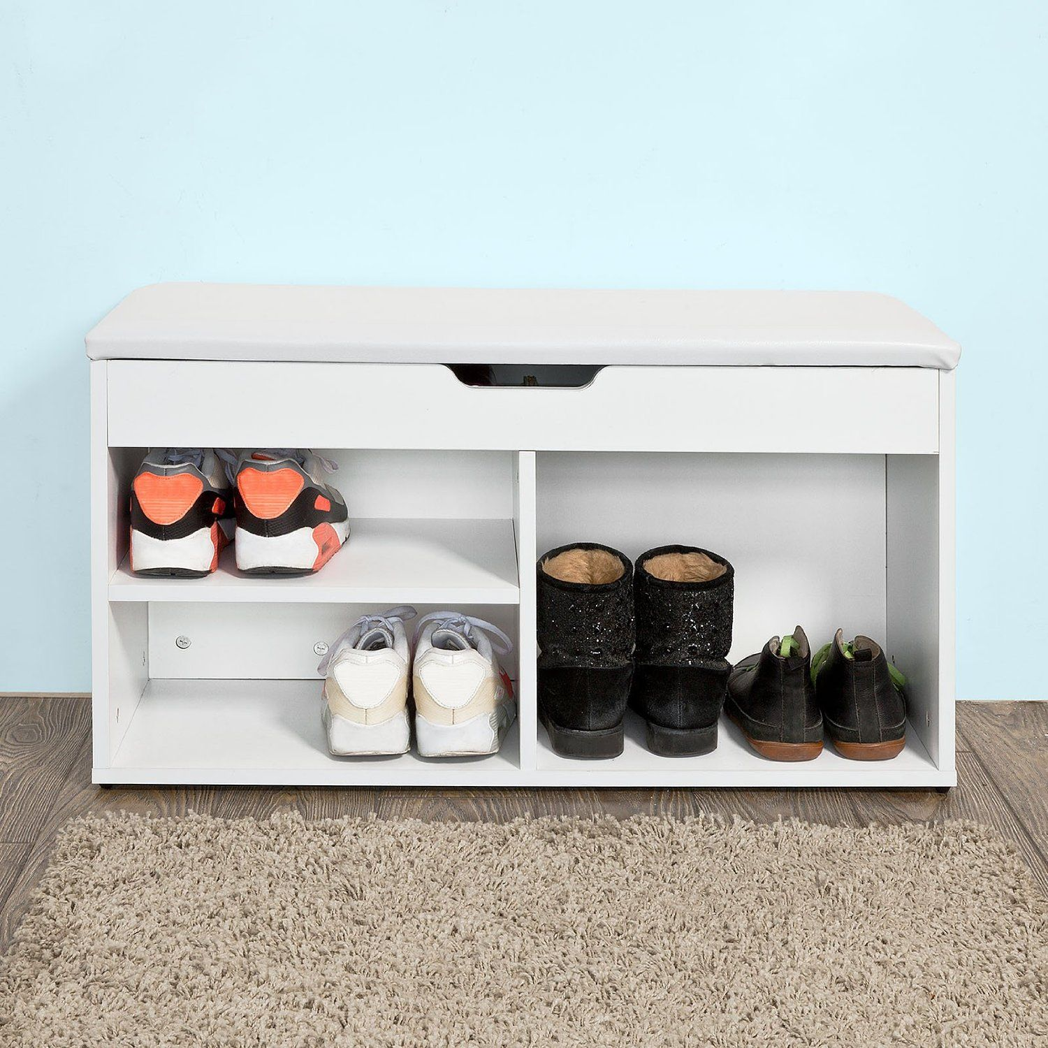 sobuy fsr27 w banc de rangement chaussures bottes avec. Black Bedroom Furniture Sets. Home Design Ideas