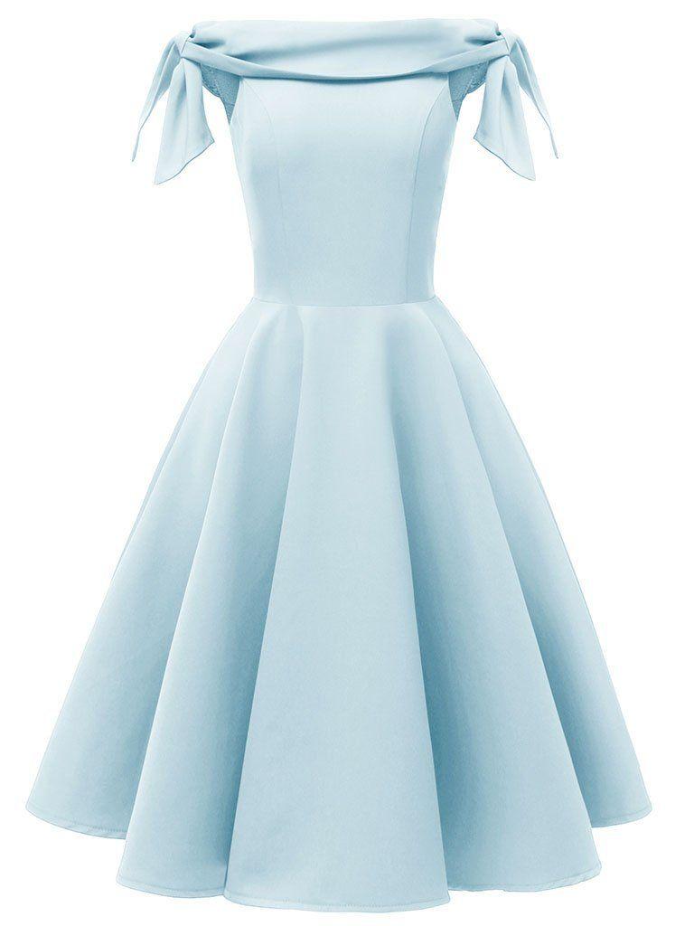 Pink High Waist 1950s Off Shoulder Bow Dress Short Dresses Homecoming Dresses Prom Dresses [ 1024 x 768 Pixel ]