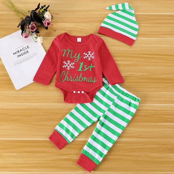 Free Christmas Snowflake Baby Onesie Organic Cotton Cool Soft Girl Long Sleeve Playsuit