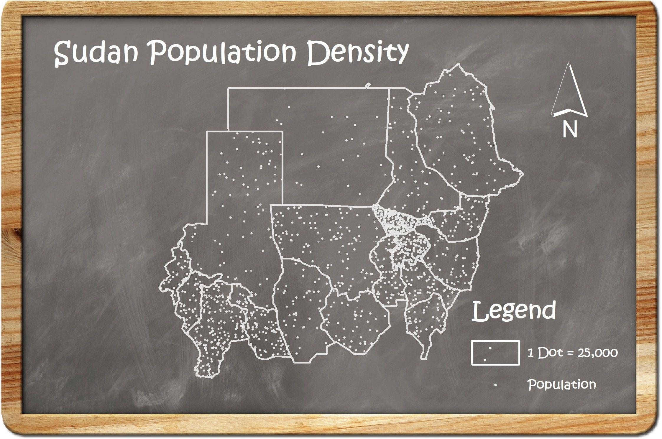 خريطة كثافة سكانية على سبورة سوداء Map Cartography Design