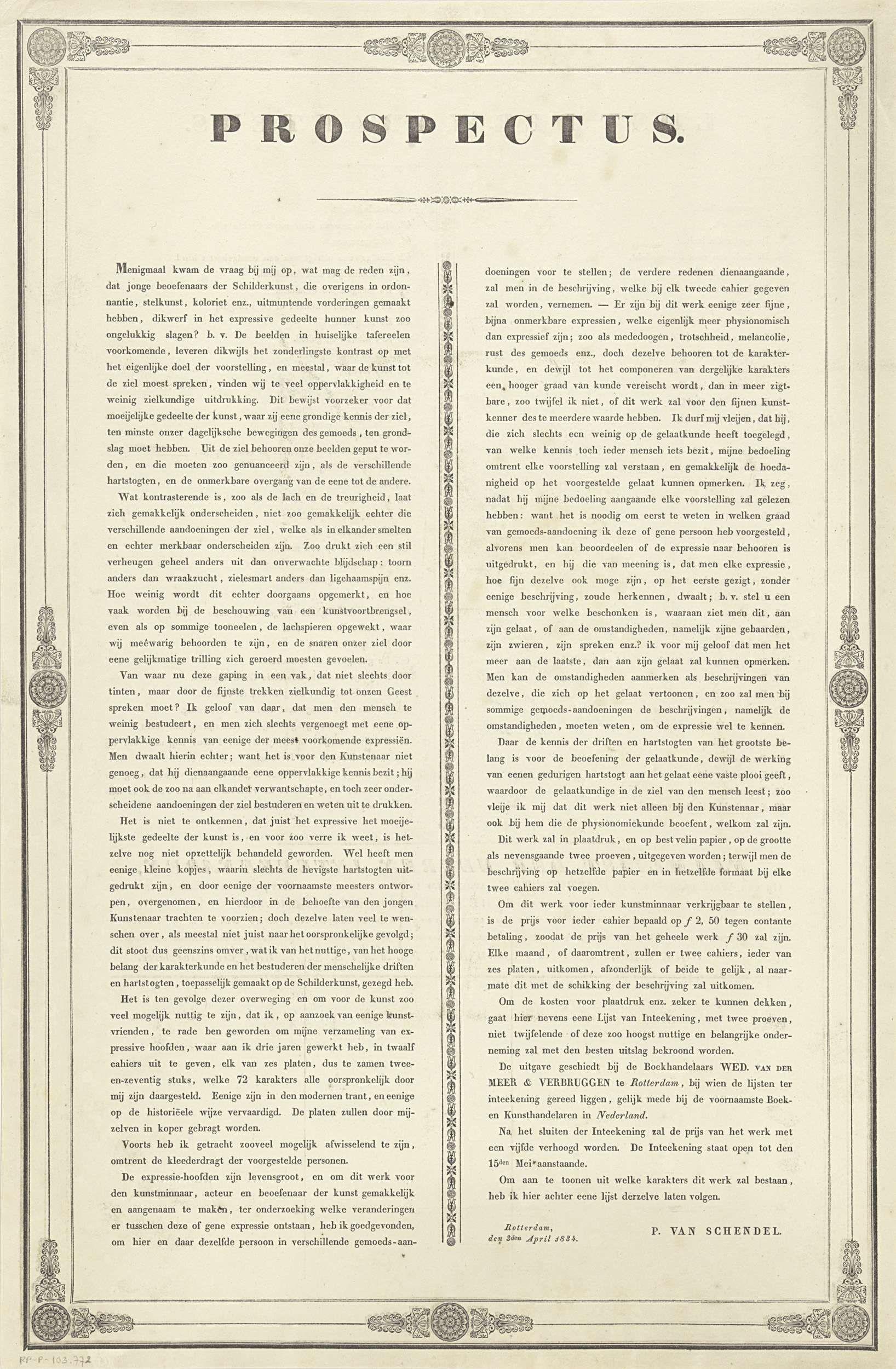 Anonymous | Folder met intekenlijst, Anonymous, Petrus van Schendel, 1834 | Informatie van Petrus van Schendel over de uit te brengen cahiers met afbeeldingen van menselijke emoties. Verso een lijst met de 72 verschillende emoties en een intekenlijst.