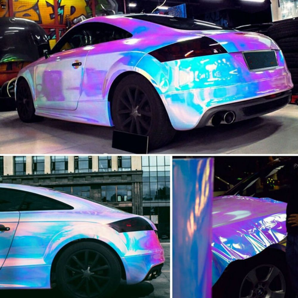 3 99 Gbp 1 3520cm Pink Holographic Rainbow Chrome Car Vinyl Bubble