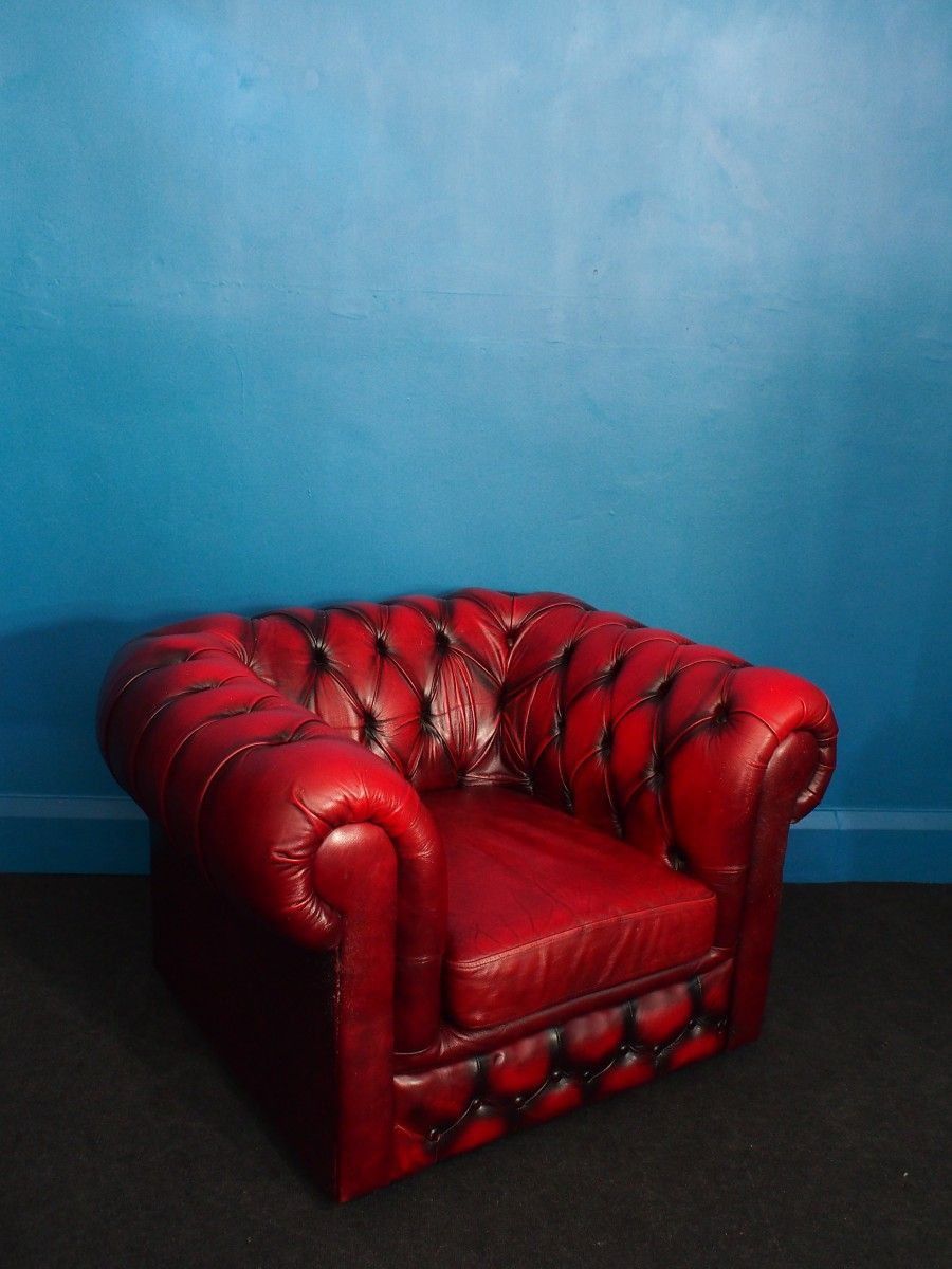 Sessel Chesterfield Vintage Ochsenblut Leder Chesterfield Club Sessel 01