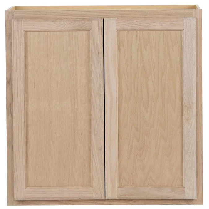 Project Source 30 In W X 30 In H X 12 In D Natural Unfinished Door Wall Stock Cabinet Lowes Com Unfinished Kitchen Cabinets Stock Kitchen Cabinets Stock Cabinets