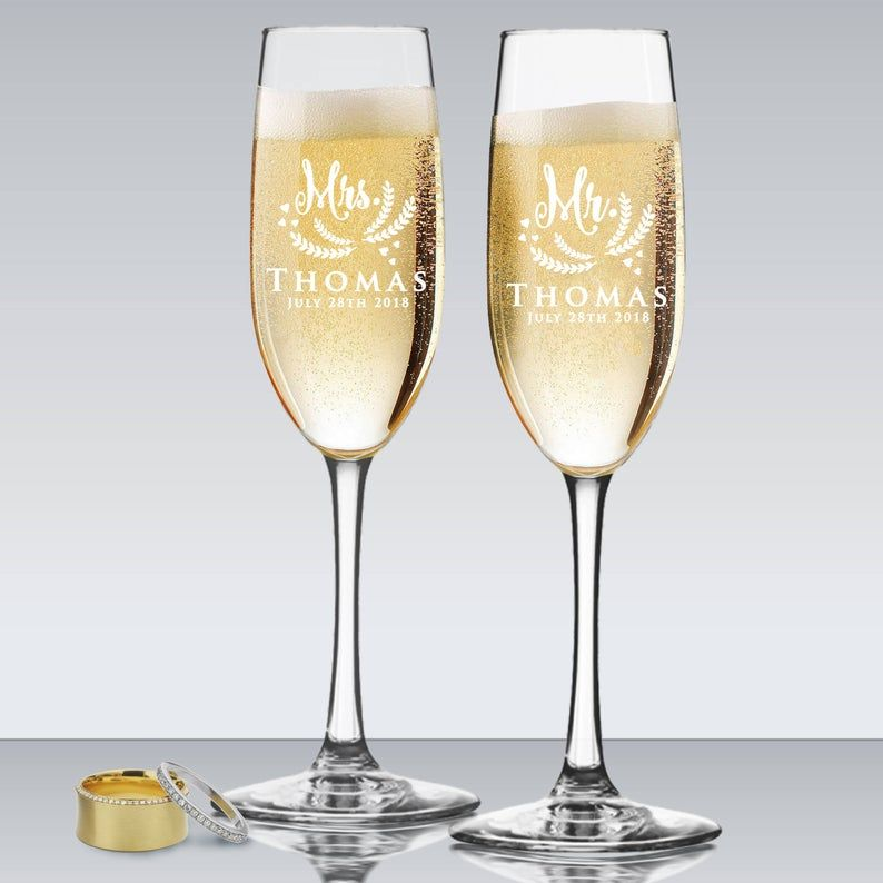 Mr and mrs glasses personalized champagne flutes wedding