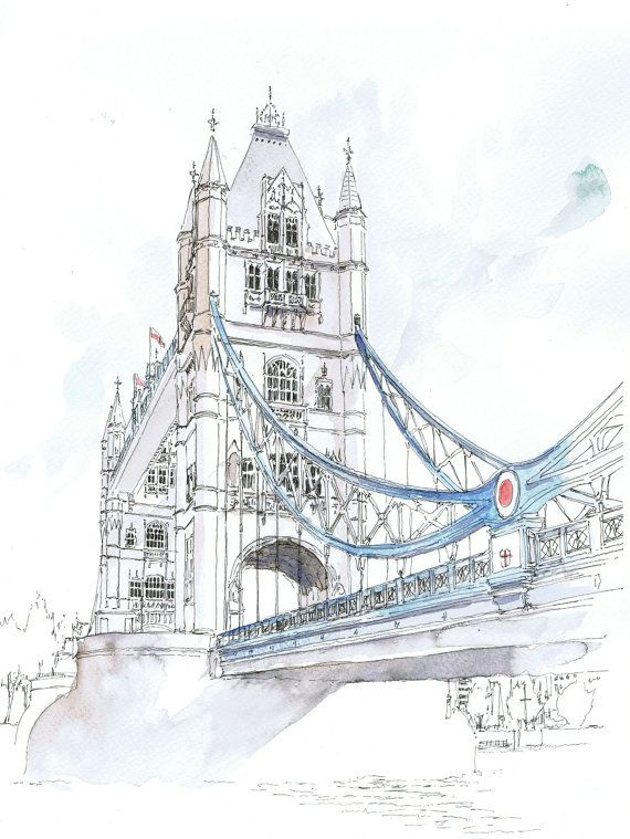 Original Watercolour Of Tower Bridge London In 2020 London