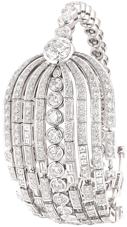 "Chanel ""Fontaine"" bracelet in 18-karat white gold set with a 1.5-carat round-cut diamond, 231 brilliant-cut diamonds for a total weight of 12.7 carats and 37 fancy-cut diamonds for a total weight of 2.6 carats.  Via The Jewellery Editor."