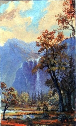 Dollhouse Painting Smaller Than Aceo Original Landscape Mountain Waterfall Realism Original Landscape Mountain Waterfall Painting