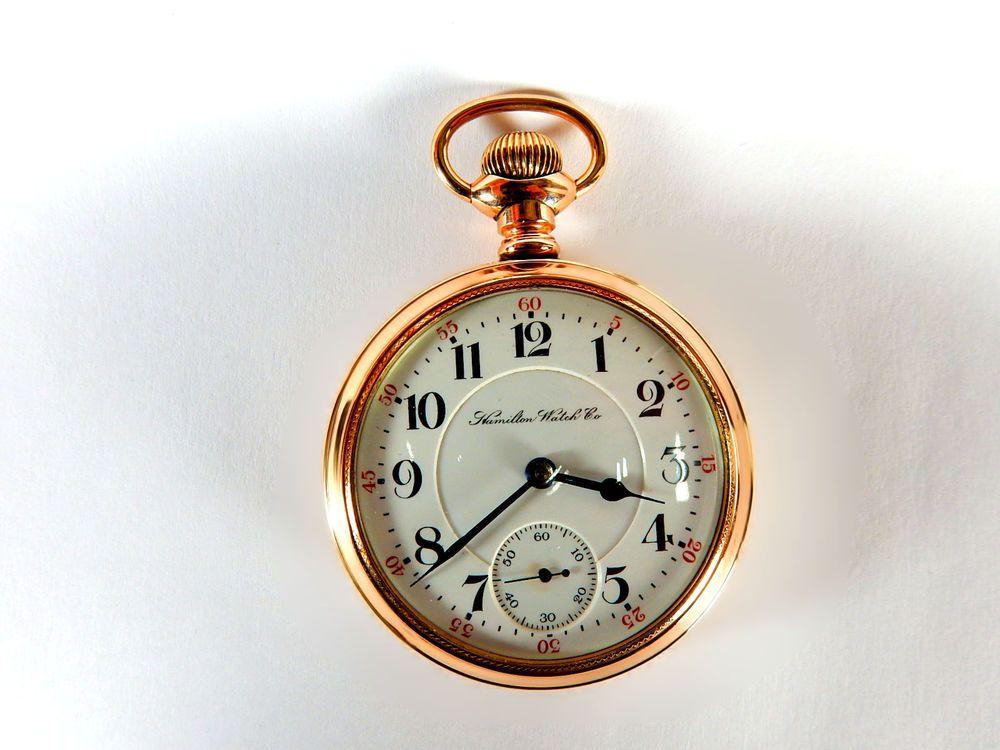 Mega Rare Antique Railroad 21J Hamilton Gold Pocket Watch Mint Serviced #Hamilton