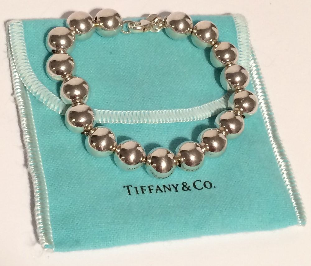 "~ Authentic Tiffany & Co 925 Sterling Silver 7.5"" Bead Bracelet Pre-owned ~ 