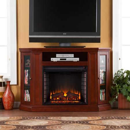 "Silverado Corner Media Console and Electric Fireplace, for TVs up to 46"", Cherry"