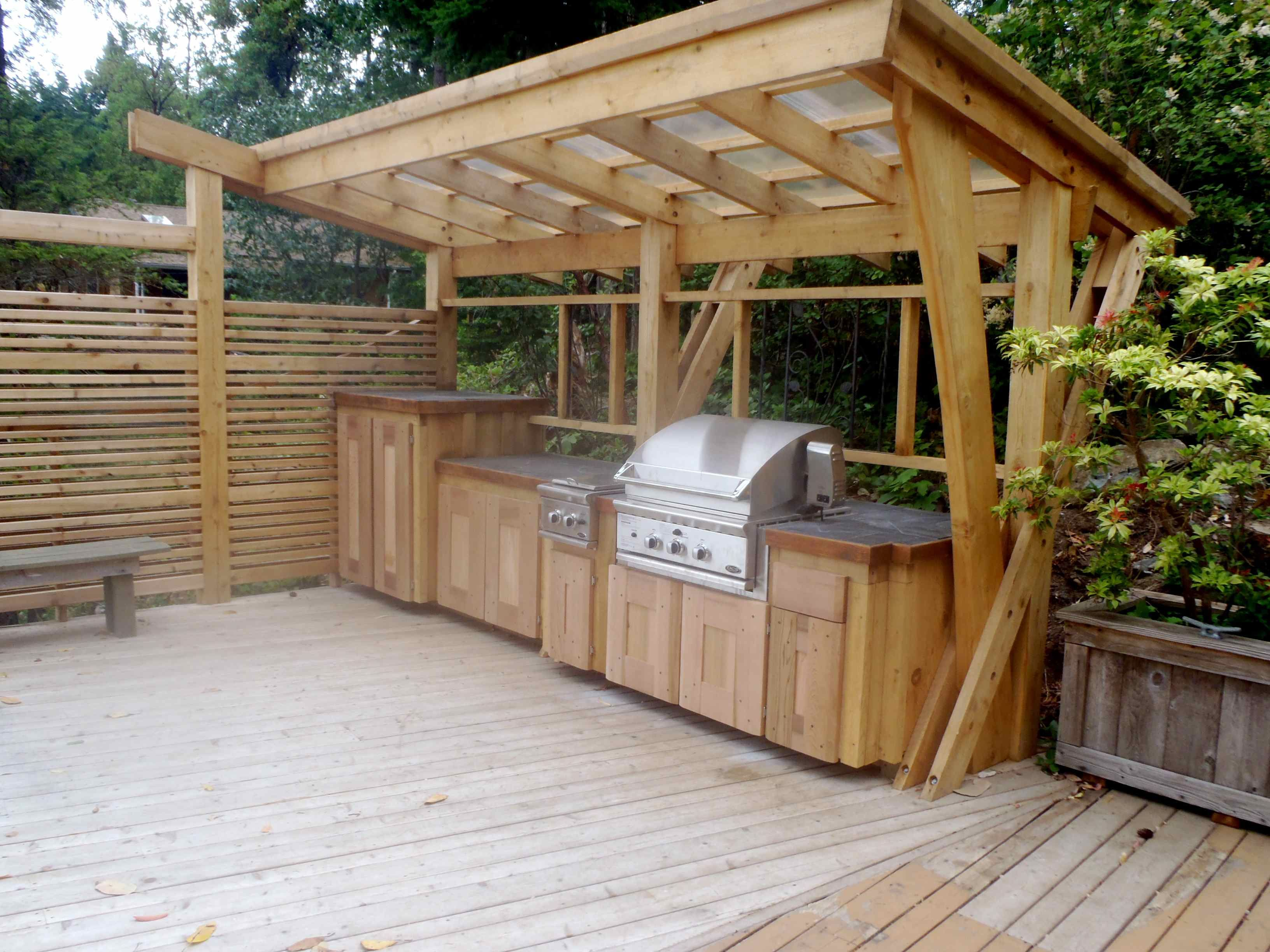 Outdoor kitchen cedar bbq cover outdoor for Plans for outside kitchen
