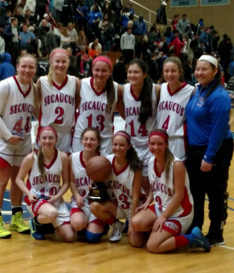 Finally County Champs The Secaucus Girls Basketball Team Poses With The Hudson County Tournament Hudson County Basketball Team Pictures Basketball Girls