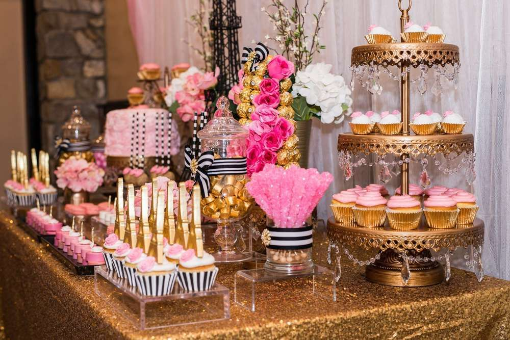 incredible dessert table at a paris bridal shower party see more party planning ideas at catchmypartycom