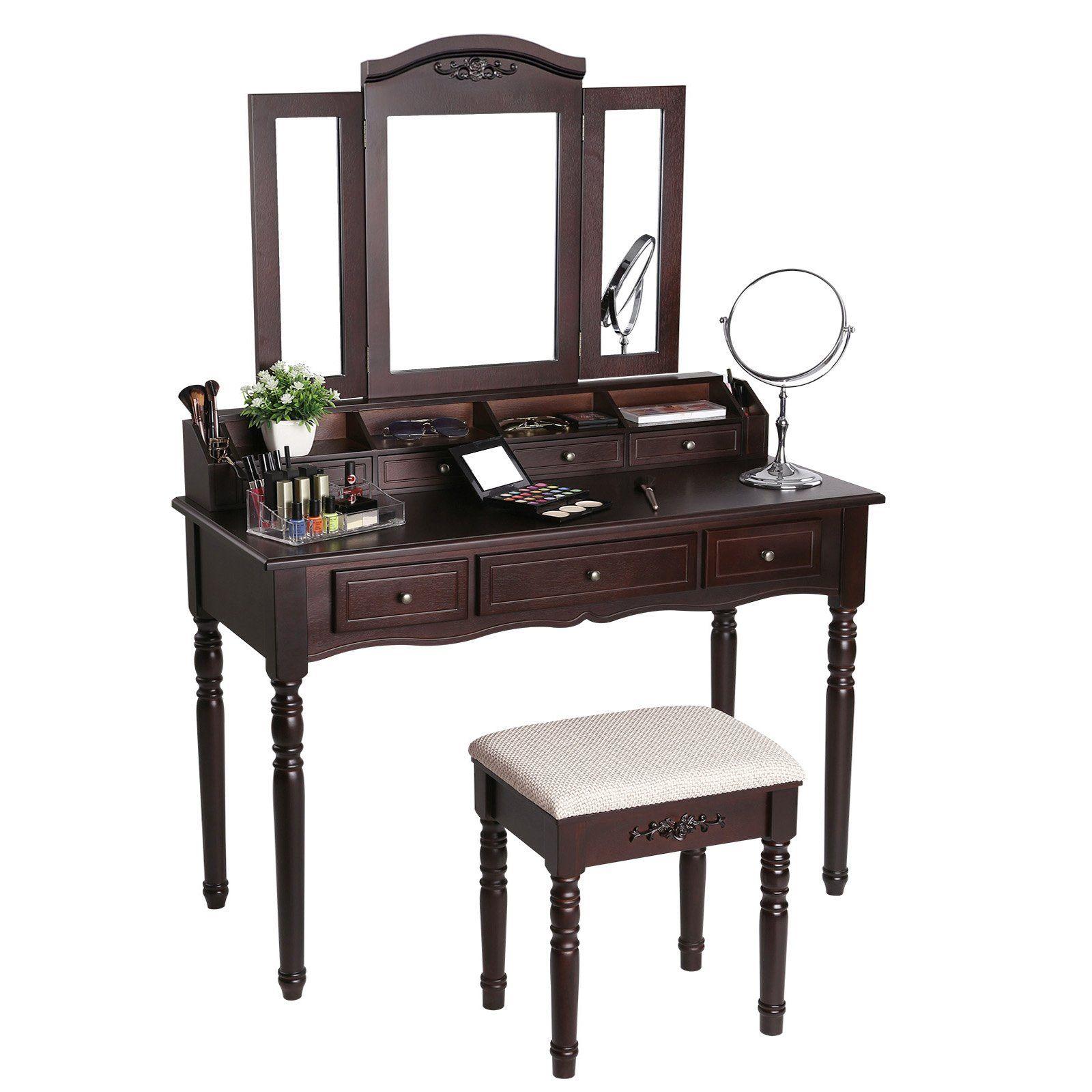 Makeup Vanity Jewelry Dressing Table Set Tri-Folding Mirror Stool Desk w// Drawer