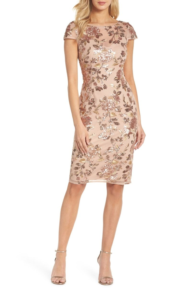 Adrianna Papell Metallic Floral Sequin Cocktail Dress Nordstrom Sequin Cocktail Dress Cocktail Dress Classy Trendy Cocktail Dresses [ 1197 x 780 Pixel ]
