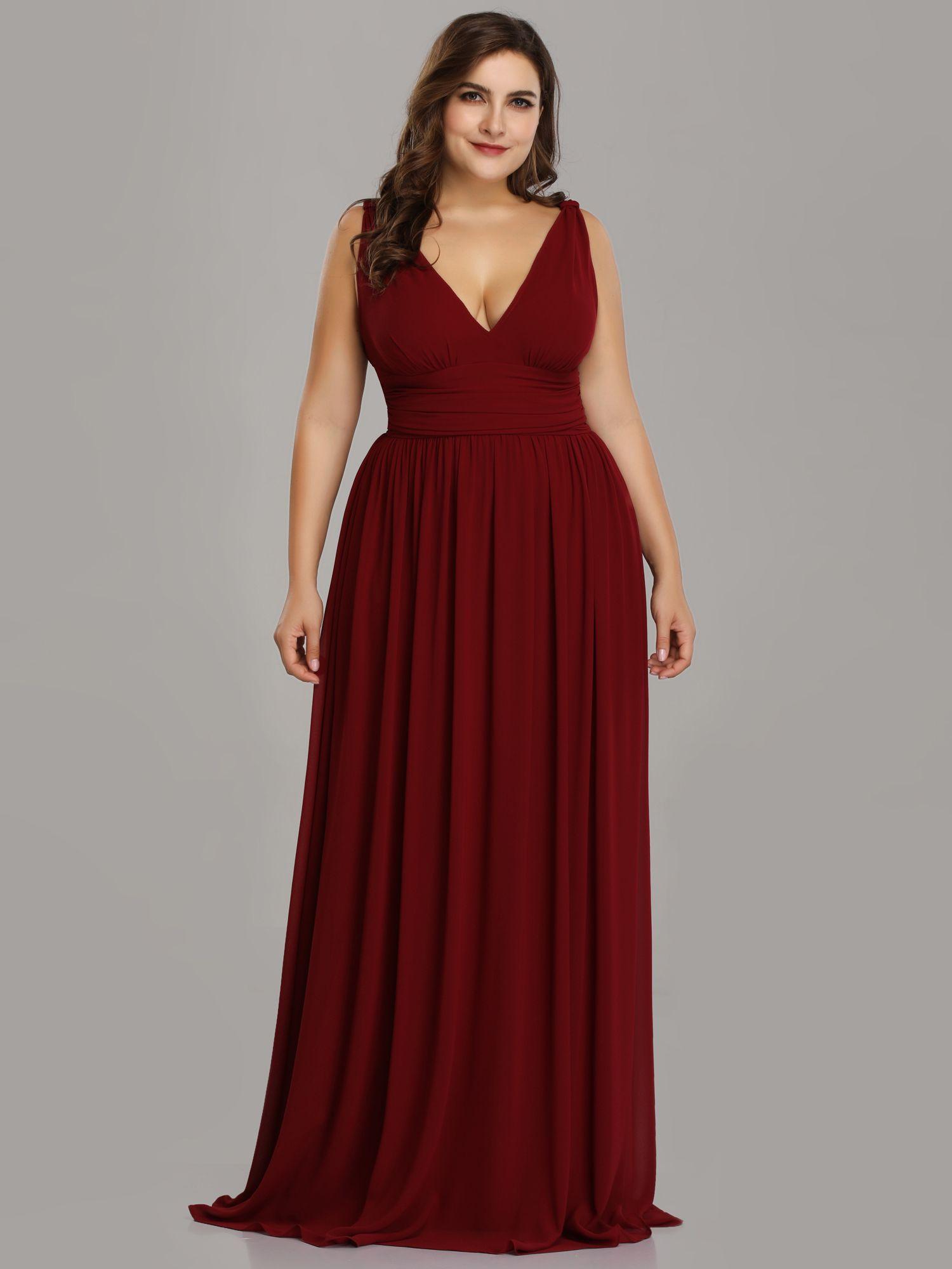 e6cba7c1763ef Ever-Pretty Long Wedding Dresses V-neck Burgundy Bridesmaid Prom Gowns  09016 709586283806 eBay Dresses neck Burgundy