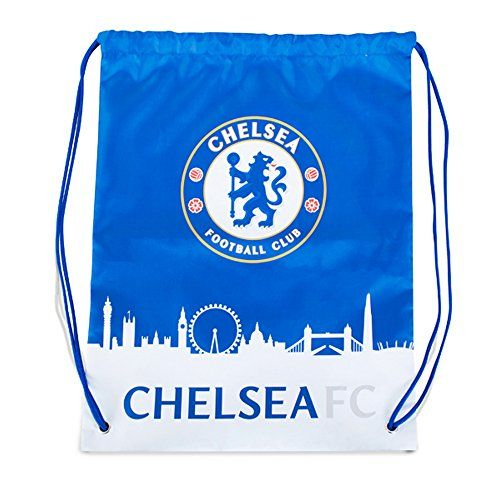 Chelsea FC Official Skyline Football Crest Drawstring Gym Bag (One Size) (Blue/White)